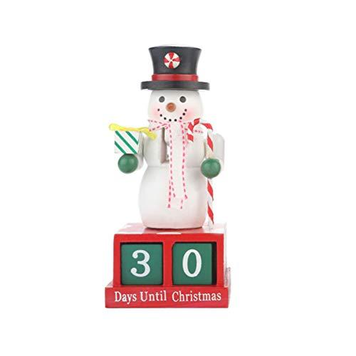 Toyvian Adventskalender Holz Würfel Schneemann Merry Christmas Countdown Dauerkalender Weihnachten Tisch Deko (Rot)