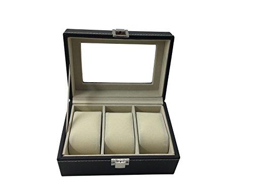 1PLUS-Uhren-Aufbewahrung-Uhrenbox-Uhrenkoffer-Uhrenkasten-Bern-fr-3-Uhren-schwarz