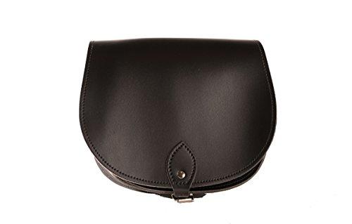 Brillante Negro de cuero real cuerpo de la cruz de una silla del bolso con correa ajustable y Cierre Hebilla