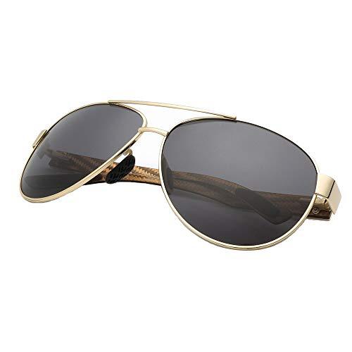 Mens Carbon Fiber Classic rechteckige polarisierte Metallrahmen Sonnenbrille HD Pilotenbrille Brille (Farbe : Gold Frame Dark Green Piece, Größe : Free)