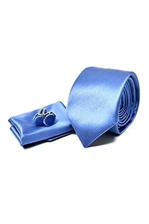 Coffret Ensemble Cravate Homme, Mouchoir de Poche, Boutons de Manchette Bleu Clair - 100% en Soie - Classique, Elégant et Moderne - (Idéal pour un cadeau, un mariage, avec un costume, au travail…)
