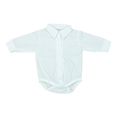 TupTam Unisex Baby Hemd-Body Langarm mit Kragen, Farbe: Weiß, Größe: 62 (Kragen-größe Hemd)