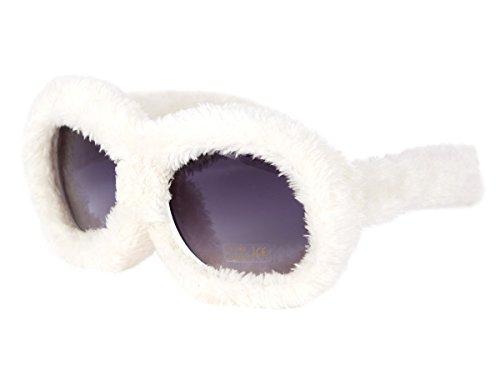 Alsino Plüschbrille Fun Brille Gagbrille Partybrille Apres-Ski Fasching Fellbrille 40, wählen:F-040 plüsch weiß
