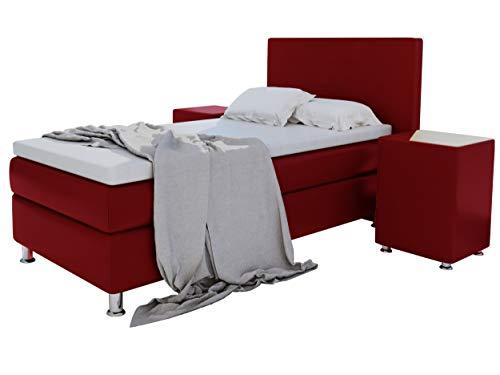 Home Collection24 GmbH Boxspringbett 90x200 cm mit 7-Zonen Taschenfederkern-Matratze Topper in H3 Hotelbett Doppelbett Polsterbett Kostenlose Anlieferung von HomeBett (Bordeauxrot)