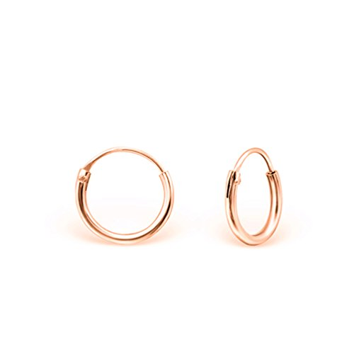 DTPsilver - Damen - Klein Creolen - Ohrringe 925 Sterling Silber und Rosen Vergoldet - Dicke 1.2 mm - Durchmesser 12 mm