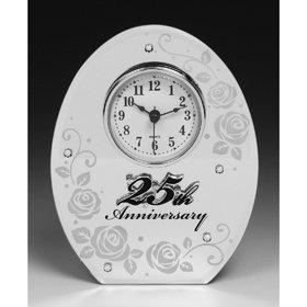 Unbekannt Verspiegelte Uhr zum 25. Silber-Hochzeitstag, Geschenk