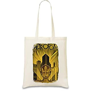 Metropole Film Gold Zukunft - Metropolis Movie Gold Future Custom Printed Tote Bag| 100% Soft Cotton| Natural Color & Eco-Friendly| Unique, Re-Usable & Stylish Handbag For Every Day Use| Custom