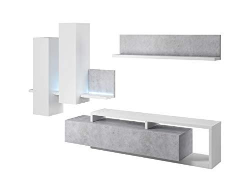 Avanti trendstore - botago - parete da soggiorno in legno laminato con illuminazione led compresa, disponibile in diverse colorazioni. (bianco-grigio)