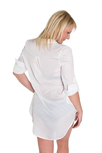 Blusen-Kleid Damen Long-Bluse Frauen Hemd-Bluse V-Ausschnitt Ciffon 3/4 Arm Weiß