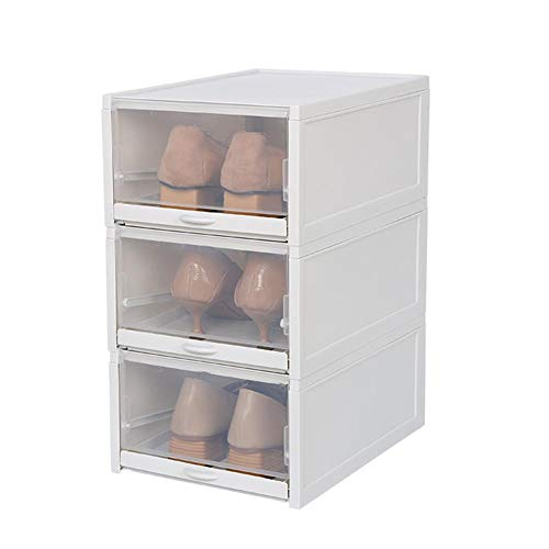 ZABB Household Transparent Drawer Type Foldable Stackable Finishing Shoe Storage Box.