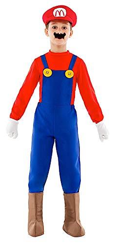 Costume di carnevale da mario vestito per ragazzo bambino 7-10 anni travestimento veneziano halloween cosplay festa party 52333 taglia 7/s