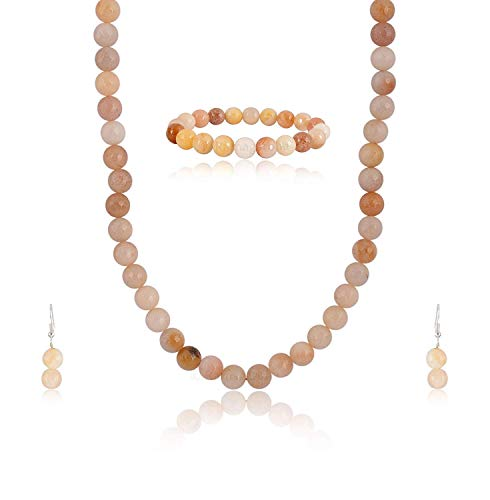 (Ratnagarbha Peach Color Quartz Necklace Set with Earrings & Bracelet, Daily-Party-Office-Casual-Wedding wear Jewelry for Girls/Women.)