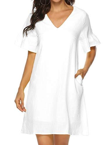 FANCYINN Sommerkleid Damen V-Ausschnitt Kurzarm Volant T-Shirt Kleid Casual Locker Mini Kleider Weiß (Casual-kleider Frauen Lockere Für)