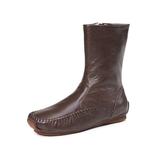 XHYX Damen-Stiefel und Winter Neue Wilde Damen mittleren Rohr Reines Leder Bottom Damen-Stiefel Warme Stiefel,Braun,36