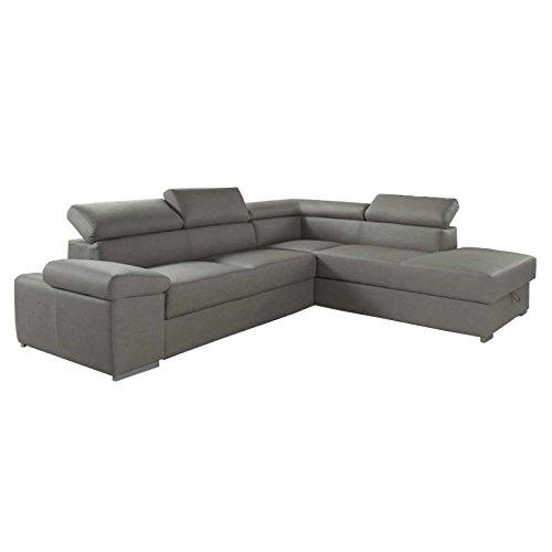 Esse italia divano letto angolare in ecopelle grigio chiaro penisola a dx 280x103xh.73 cm