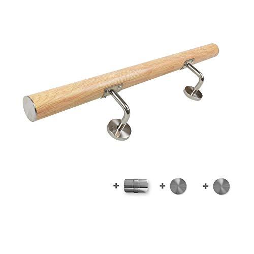 HENGMEI 100cm Main Courante en inox avec 2 fixations en acier inoxydable pour Escaliers avec connecteur, modèle en bois