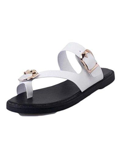 YOUJIA Casual Flat Sandales Beach Flip Flops Chaussure D Été Femme Blanc