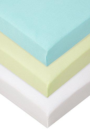 Lot de 3 Draps housse Coton pour lit Bébé 40x80 / 40x90 cm - anis blanc turquoise