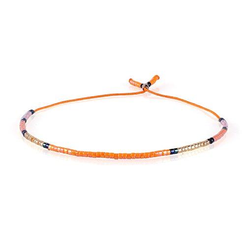 KELITCH Bohemian Armband Rocailles Perlen Handmade Mehrfarbig Zart Schnur Freundschaftsarmbänder - Orange