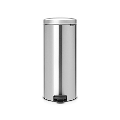 Brabantia Newicon-Cubo de Basura con Pedal, 30 l, Color Fpp Inoxidable, Acero Mate Anti-Huellas