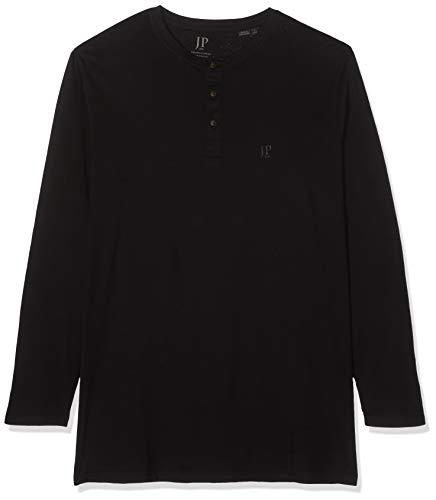 JP 1880 Herren Henley Langarmshirt, (Schwarz 10), XXXXXX-Large (Herstellergröße: 6XL) - 10 Langarm T-shirt