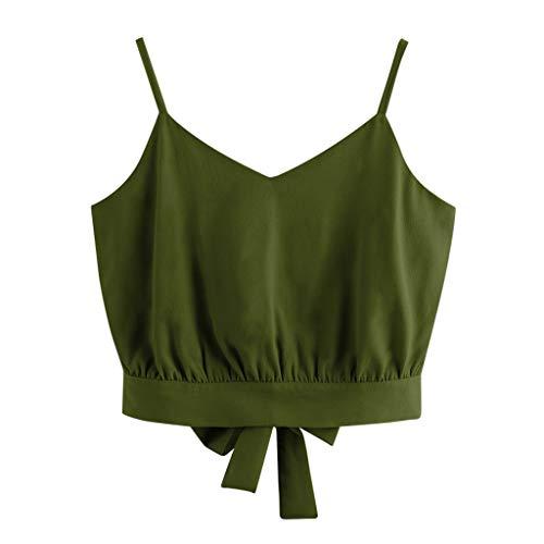 Floweworld Damen Tank Tops Sommer Neue Frauen Casual Fliege Zurück V-Ausschnitt Kurze Tops Feste Ernte Leibchen Bluse Mode Sexy Strand Sling T-Shirt