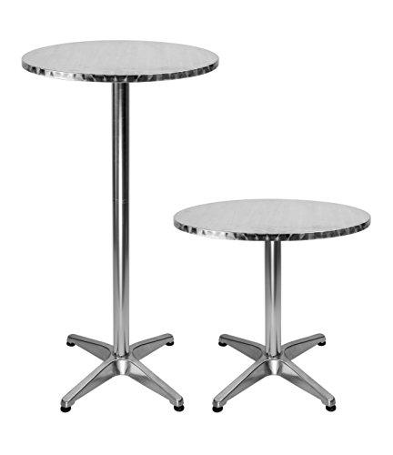 Bistrotisch aus Aluminium, rund, Bar-Tisch mit 2verstellbaren Höhen, 61cm hoher Tisch