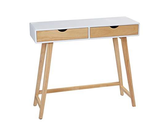 LC Home Konsolentisch Konsole mit Zwei Schubladen Holz weiß Natur in skandinavischem Stil
