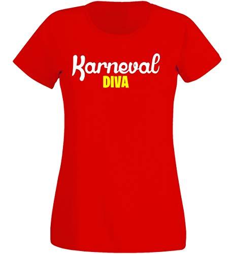 Diva Kostüm Teufel - T-Shirt Damen - Karneval Diva Kostüm rot - Fasching K (XS)