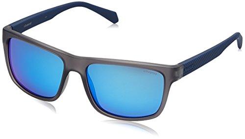 Polaroid Herren PLD 2058/S 5X RCT 55 Sonnenbrille, Blau (Matt Blue Grey)