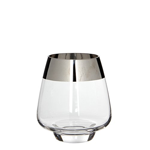 MICA Decorations Devon Windlicht/Vase, Glas, transparent, H: 18 cm D: 16 cm (Glasvase Hurricane)