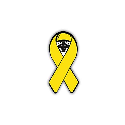 Aufkleber/Sticker Gelbe Schleife mit EK BW Solidarität Wappen 3x7cm #A1018