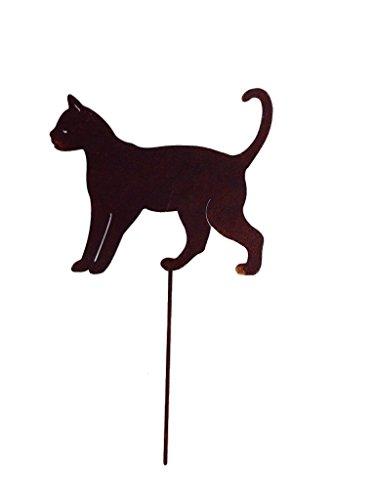 Gartenstecker Edelrost - laufende Katze klein - Höhe 18 cm