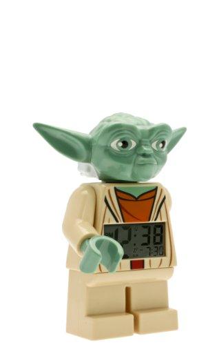 LEGO Star Wars 9003080 Yoda Kinder-Wecker mit Minifigur und Hintergrundbeleuchtung , grün/braun , Kunststoff , 24 cm hoch , LCD-Display , Junge/ Mädchen , offiziell
