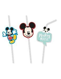 Procos pajitas con figura de Mickey Mouse Awesome, Multicolor, 5pr89011