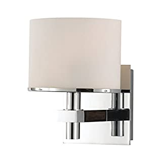 Alico Industries BV511-10-15 Ombra Collection 1-Light Vanity Fixture, Chrome Finish with White Opal Glass by Alico Industries