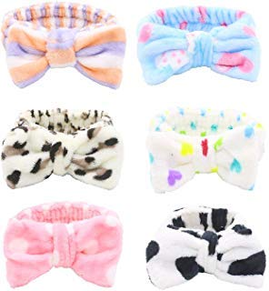 Shindel Bow Hair Band Soft Carol Fleece Hairlace Headband Turban Bowknot Bow Makeup Shower Headbands Headwraps for Washing Face Shower Spa Mask Multiple Styles 6PCS -