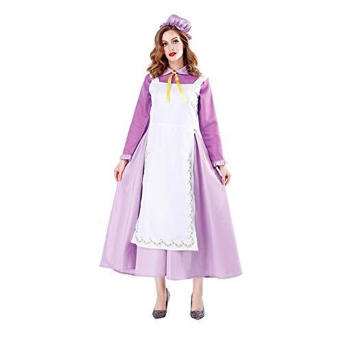 MEMIND Halloween Kleider Erwachsene Frau Maid tragen lila Maid tragen lila Prinzessin Kleid Maskerade Kostüme Spiel Anzug Cosplay Thema Party Kleidung,L (Lila Haut Anzug Kind Kostüm)