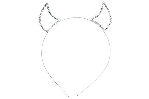 Rosemarie Kollektionen Damen Strass Teufel Hörner Stirnband (Silber Ton Klar) von Rosemarie - Halloween Für Teufel-ideen