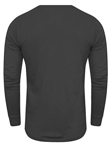 Dissident Herren Notchpoc V-Ausschnitt mit Mock-T-Shirt-Einsatz Langarmshirt Größe S-XXL Asphalt Grau