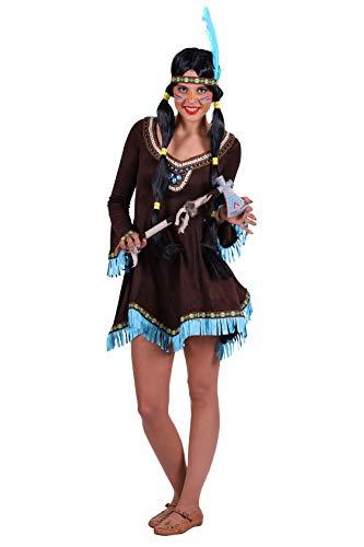 Indianer-Kostüm Damen Indianer-Kleid dunkel-braun mit Fransen Adler Falke Apache Karneval Fasching Hochwertige Verkleidung Größe 40/42 Braun
