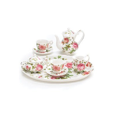 Mini saddlebrooke Tee-Set Blumen Porzellan Teetasse Teekanne Untertassen Tablett pink Roses Zucker Sahne - Tea Rose Creamer