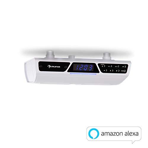 auna Intelligence Küchenradio mit Bluetooth • Unterbau-Radio • WLAN • Alexa Voice Control • Multiroom-fähig • einfache Montage unter Schränken • Freisprecheinrichtung • inkl. Montagematerial • weiß