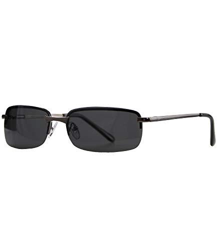 Caripe sportliche Sonnenbrille Herren rechteckig rahmenlos verspiegelt - herso (One Size, 016 - metallic - black polarisiert)