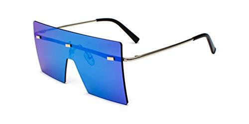 HUWAIYUNDONG Sonnenbrillen, Fashion Square Sunglasses Men Women Vintage Oversized Rimless Mirror Design Eyewear Shades Gold W Blue
