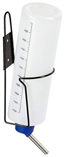 Kerbl 81766 Trinkflasche mit Halter aus Metall, 500 ml