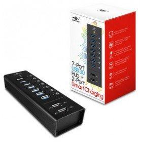 VANTEC UGT-AH700U3-2C 9-port USB 3.0 Hub mit 2x Smart Charging Ports 1A und 2A (Usb-hub, 9-port)