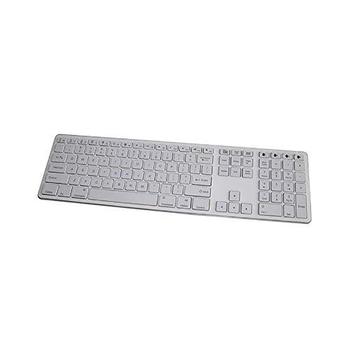 Bluetooth-Tastatur, 109 Tasten Multi-Pairing Drei-Tasten-Bereich Ultradünne, drahtlose Tastatur, geeignet für Büro, Zuhause - Silber