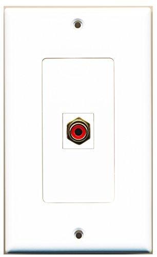 RiteAV-1RCA rot für Subwoofer Audio Port Wall Plate Dekorative Weiß Keystone-port-wall Plate