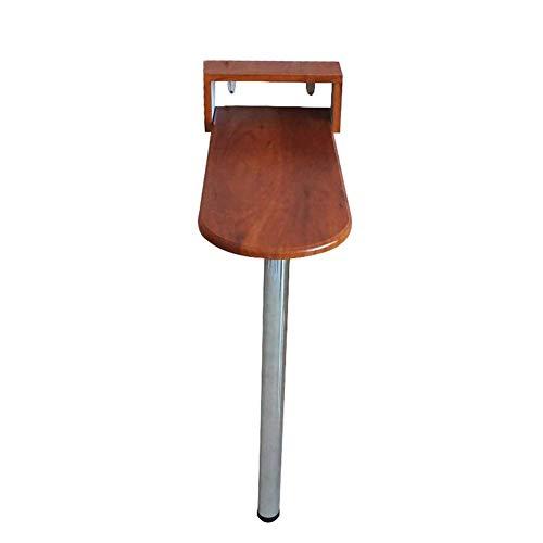 Schreibtisch zur Wandmontage mit einem Bein, Klapptisch Feuerfester Holztisch für das Büro zu Hause, Nussbaum hell (Größe: 85 × 60 × 80 cm)